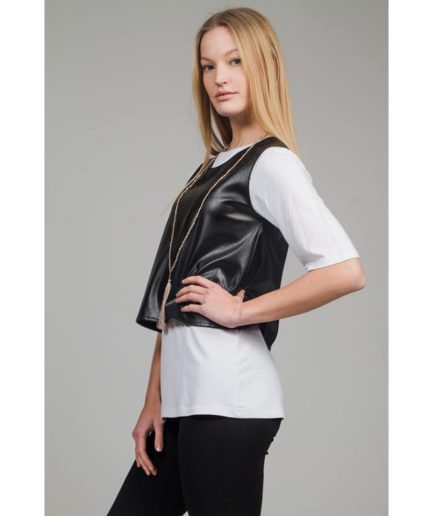 sleeveless faux-leather top