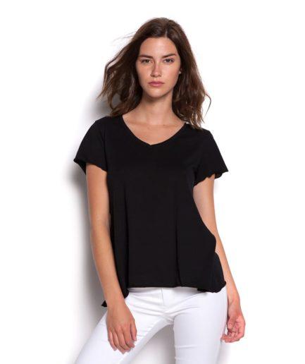 black tshirt with V neck