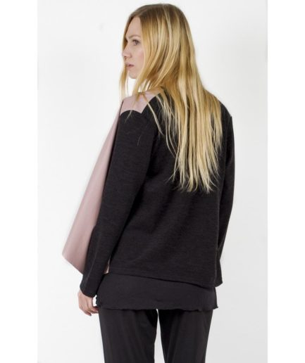 Cardigan with faux leather front