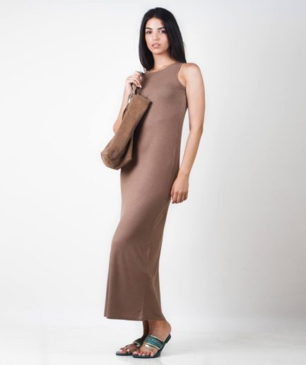 Long rib dress Olive dress