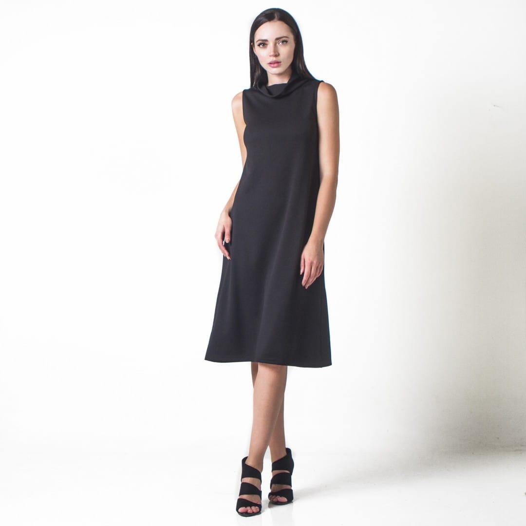 9fac05f0f3d6 Μίντι φόρεμα με ψηλό γιακά - Γυναικεία Ρούχα - Φορέματα - Xanashop