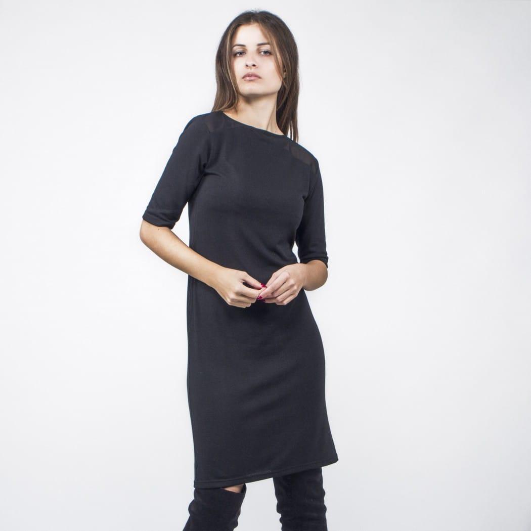 89b6ff28ad40 Μίντι ίσιο μαύρο φόρεμα - Γυναικεία Ρούχα - Φορέματα - Xanashop