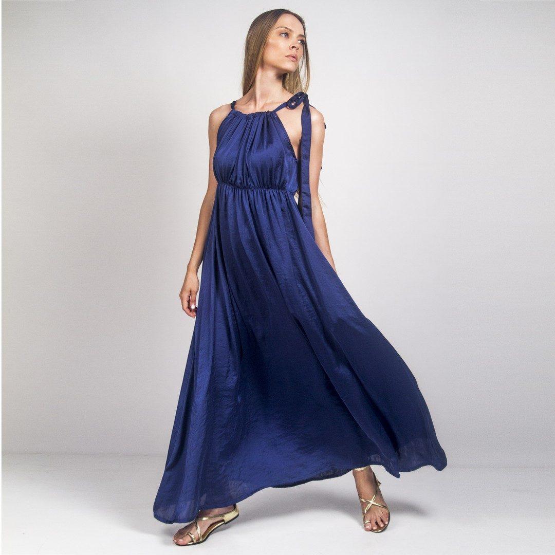 924a705c4f0 Μάξι σατέν μπλέ φόρεμα - Γυναικεία Ρούχα - Φορέματα - Xanashop