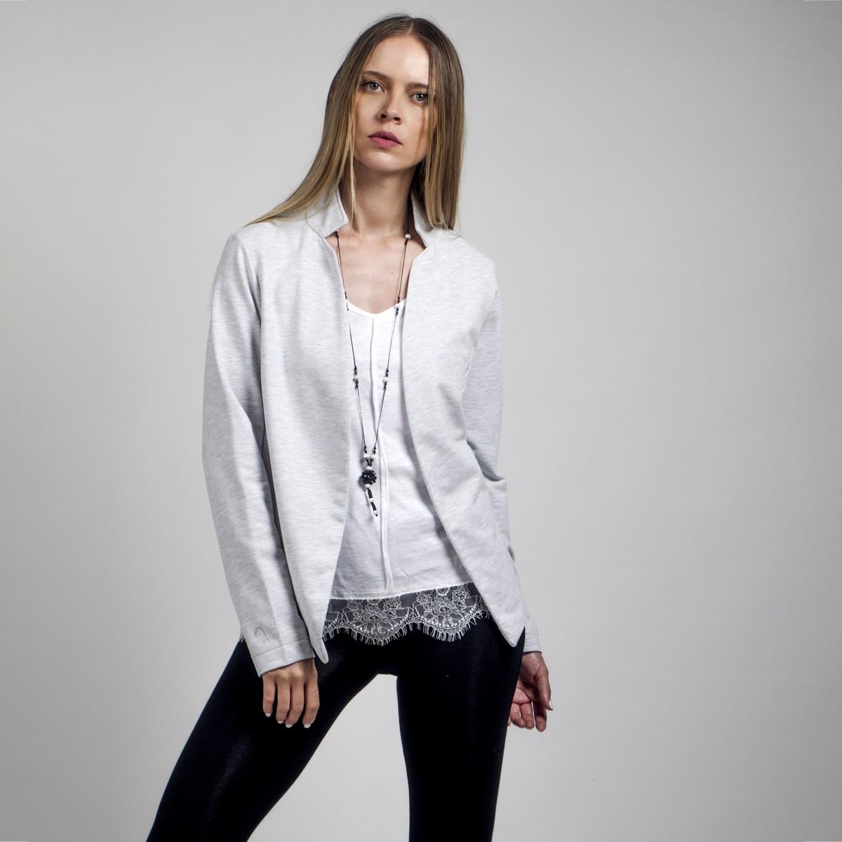 61530eea8371 Γκρί σακάκι από βαμβακερό φούτερ - Γυναικεία Ρούχα - Φορέματα - Xanashop