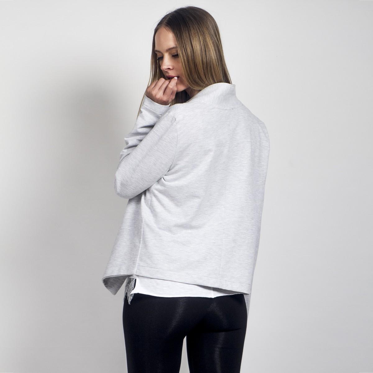 7ed61d3220cf Γκρί σακάκι από βαμβακερό φούτερ - Γυναικεία Ρούχα - Φορέματα - Xanashop