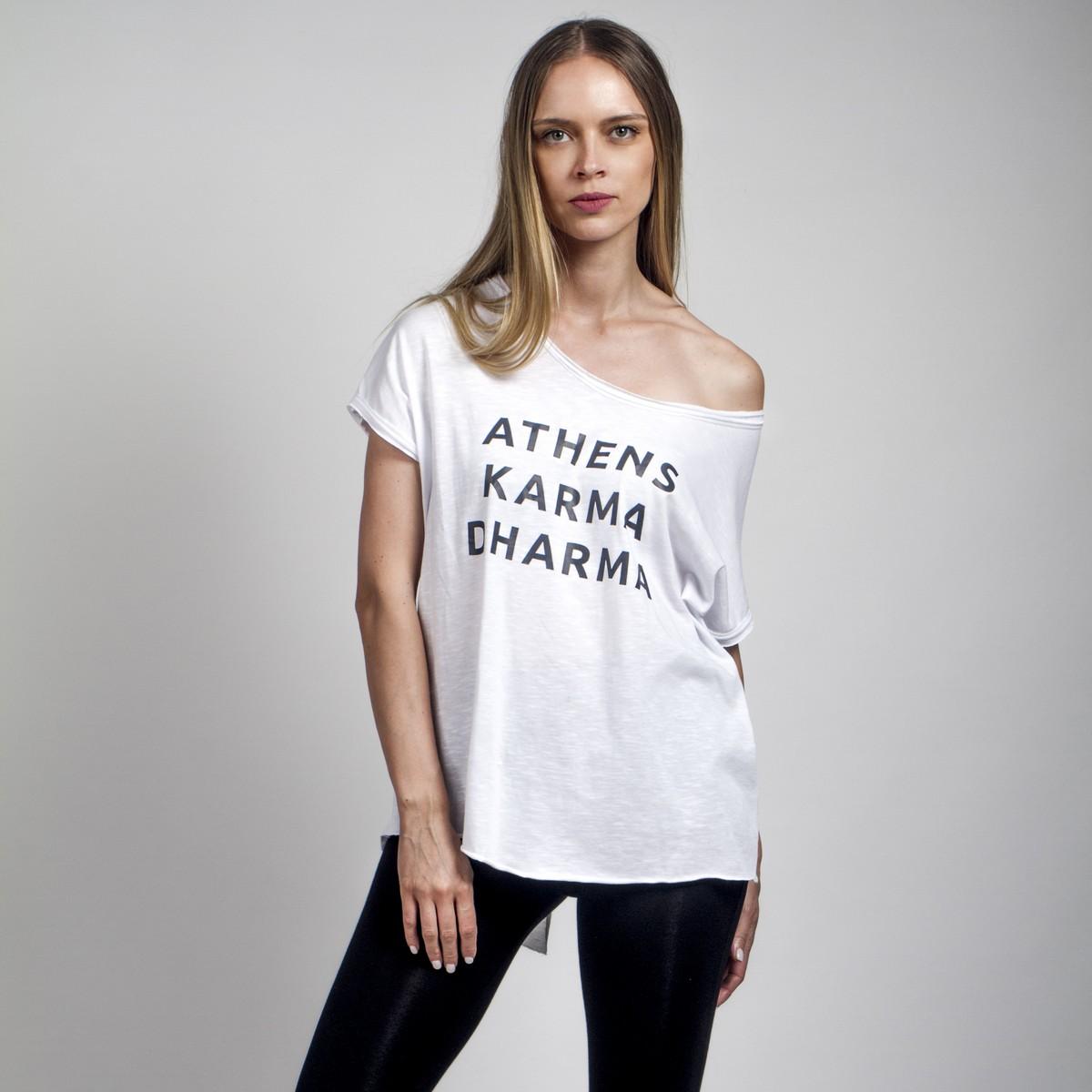 f09db195b272 Ασπρο tshirt με στάμπα - Γυναικεία Ρούχα - Φορέματα - Xanashop