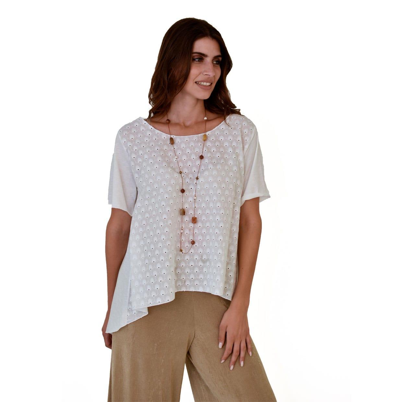 6e2289f538cd Ασύμμετρη βαμβακερή μπλούζα με μπρόντερι - Γυναικεία Ρούχα ...