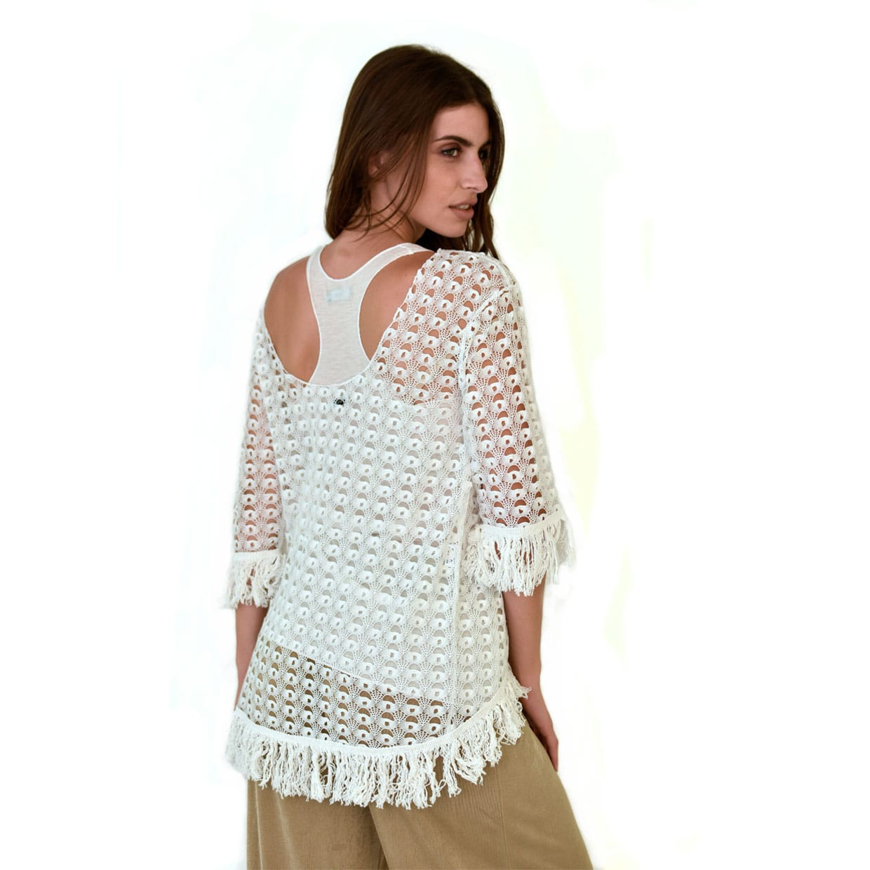 aecf1e0e87d2 Εκρού δαντελωτή μπλούζα με κρόσια - Γυναικεία Ρούχα - Φορέματα ...