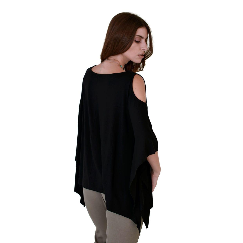 91766f67ae73 Μαύρη φαρδιά τυνίκ με γυμνούς ώμους - Γυναικεία Ρούχα - Φορέματα ...