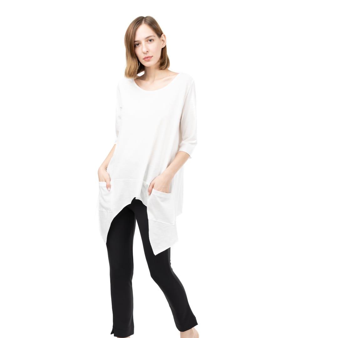 fc2ac0ba3132 Λευκή ασύμμετρη μπλούζα με τσέπες - Γυναικεία Ρούχα - Φορέματα ...