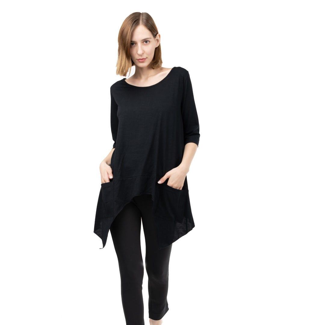 5468a30359f5 Μαύρη ασύμμετρη μπλούζα με τσέπες - Γυναικεία Ρούχα - Φορέματα ...