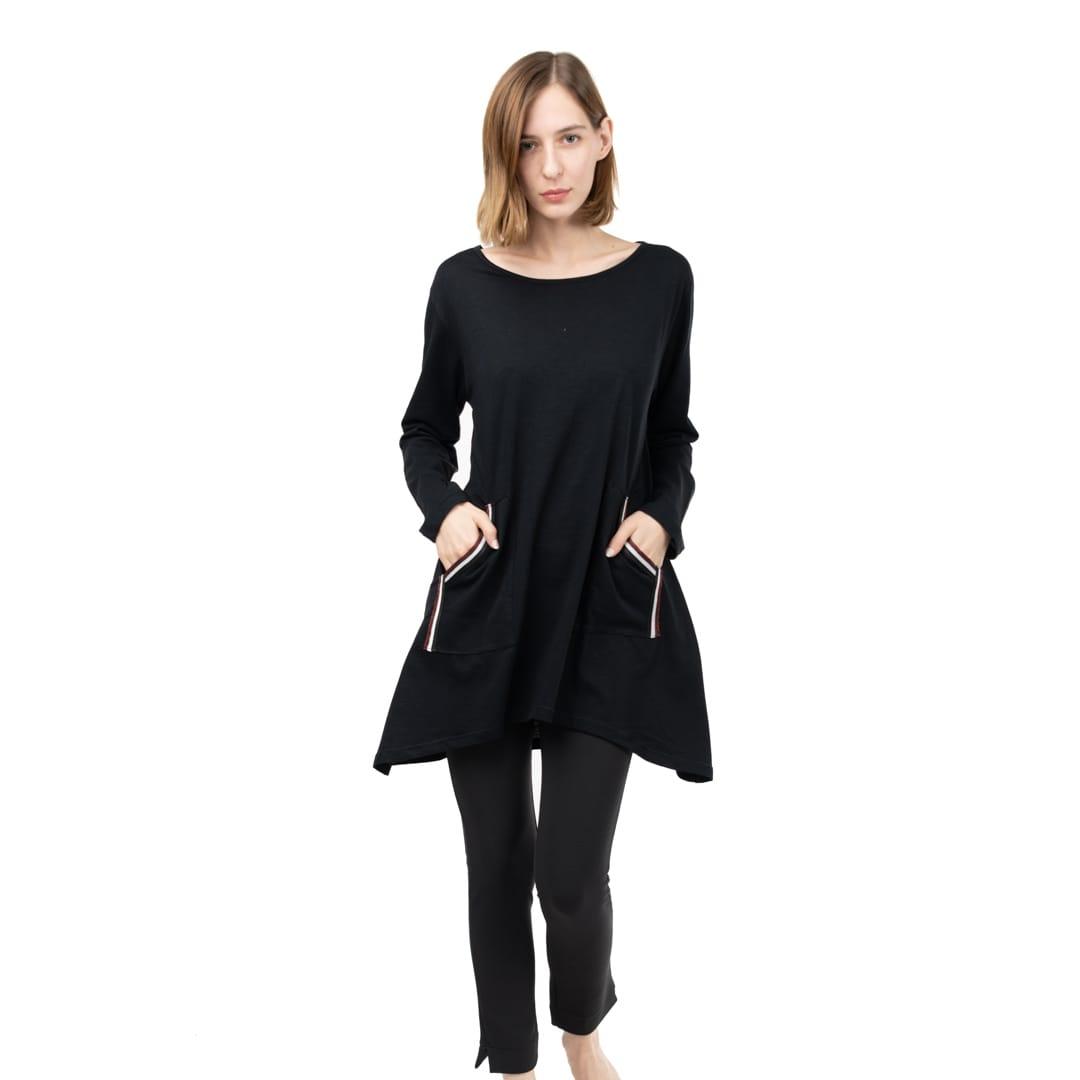 95badabf9e31 Μακριά φαρδιά μπλούζα με τσέπες - Γυναικεία Ρούχα - Φορέματα - Xanashop