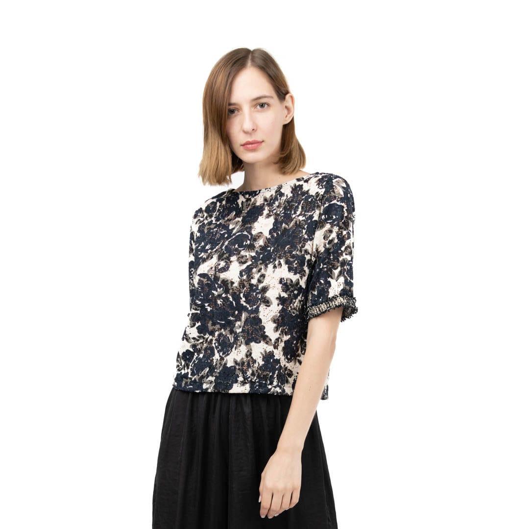 e626090e9027 Δαντελωτή μπλούζα σε φλοράλ πριντ - Γυναικεία Ρούχα - Φορέματα ...
