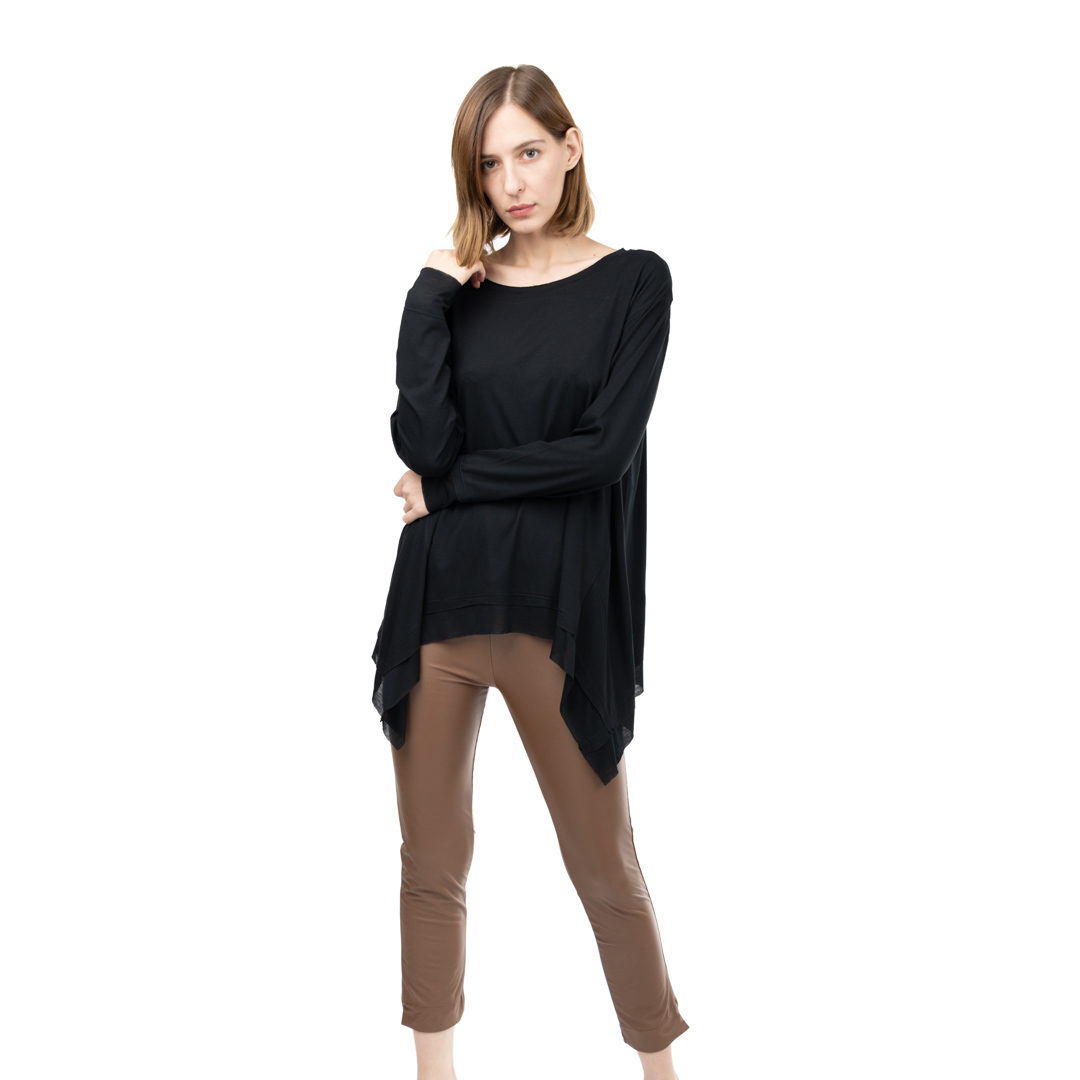 f97507511064 Μαύρη μπλούζα με ασύμμετρο κόψιμο - Γυναικεία Ρούχα - Φορέματα ...