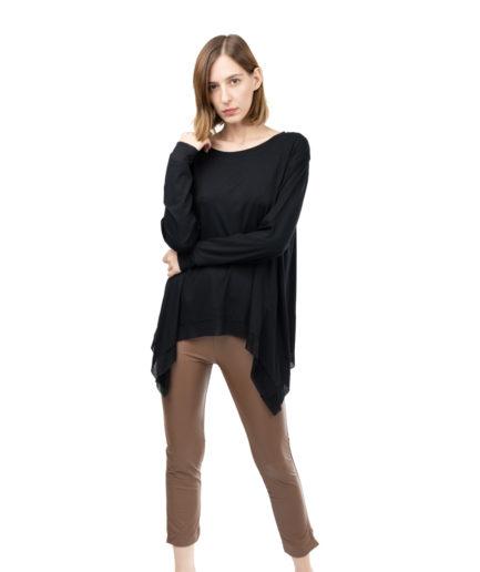 b877c1e4f6ab Φαρδιά βαμβακερή μπλούζα με υφαντές λεπτομέρειες - Γυναικεία Ρούχα ...