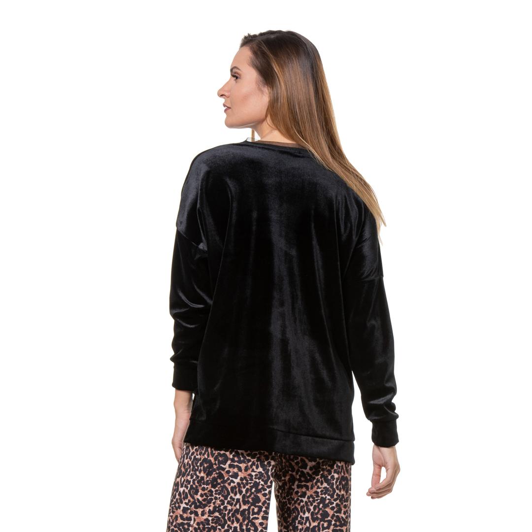 Velvet Black Sweater Womans Clothes Dresses Xanashop