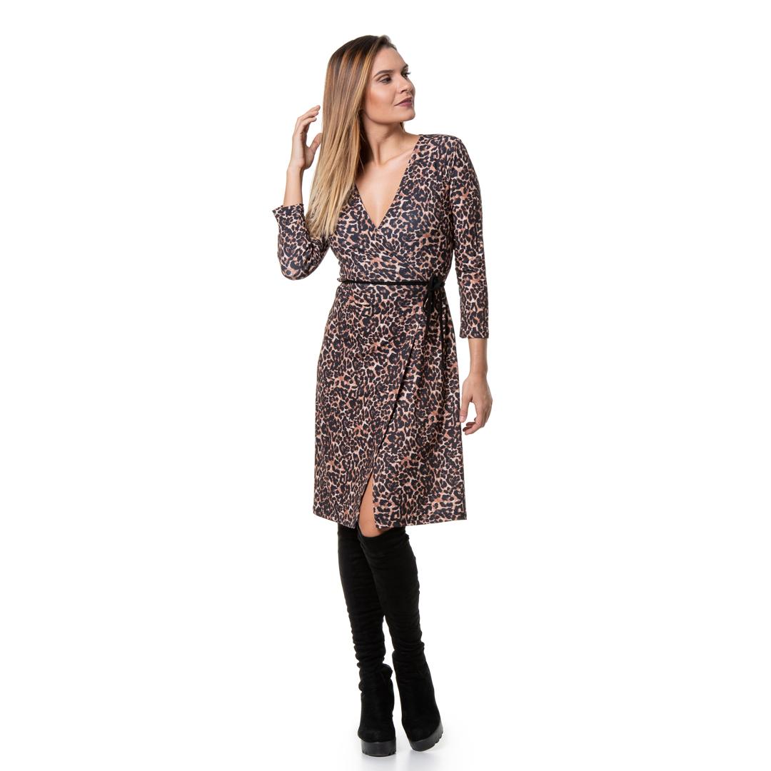 44423a67d50a Κρουαζέ φόρεμα σε λεοπάρ πριντ - Γυναικεία Ρούχα - Φορέματα - Xanashop