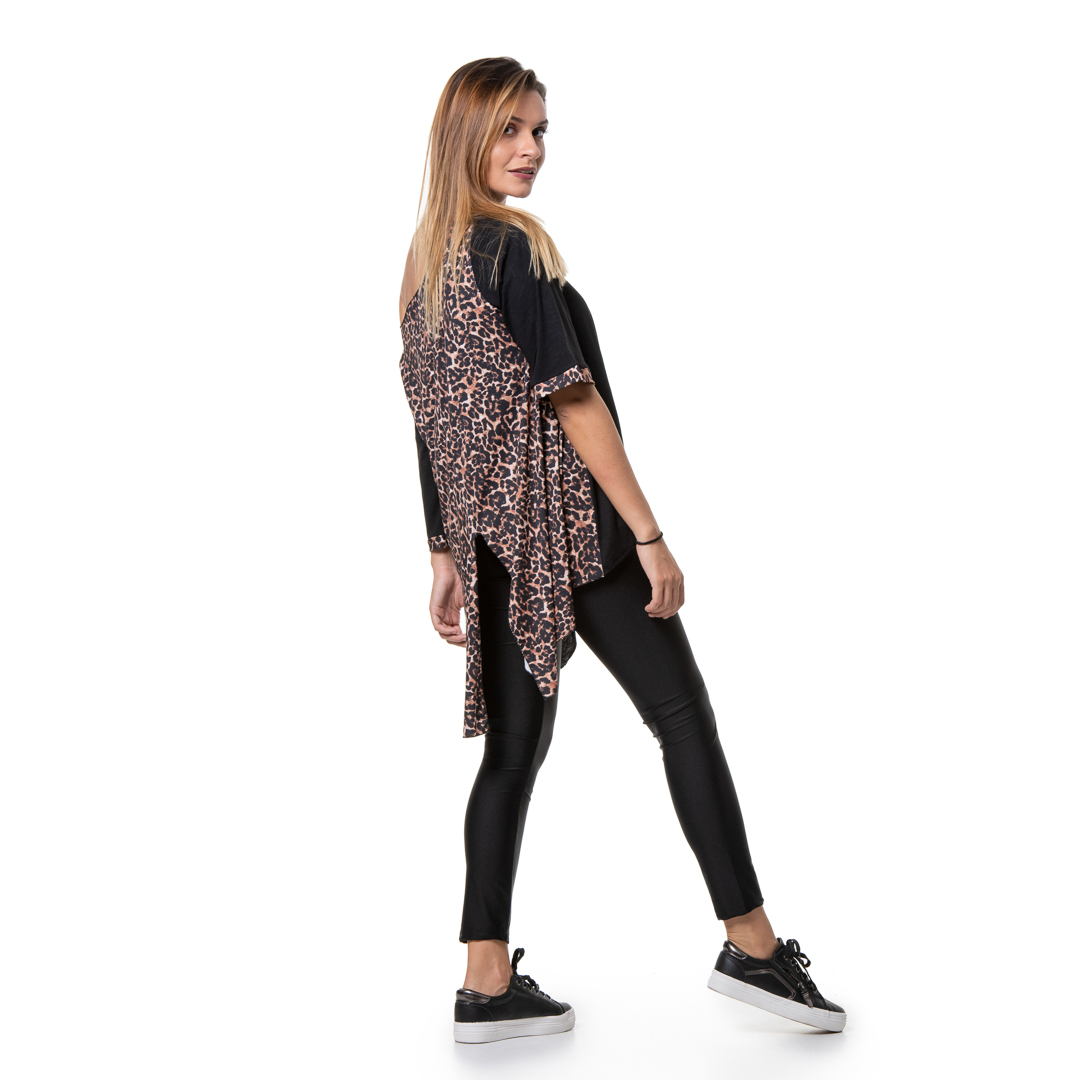 bc65c4d508aa Oversized top with leopard print back - Womans Clothes - Dresses ...