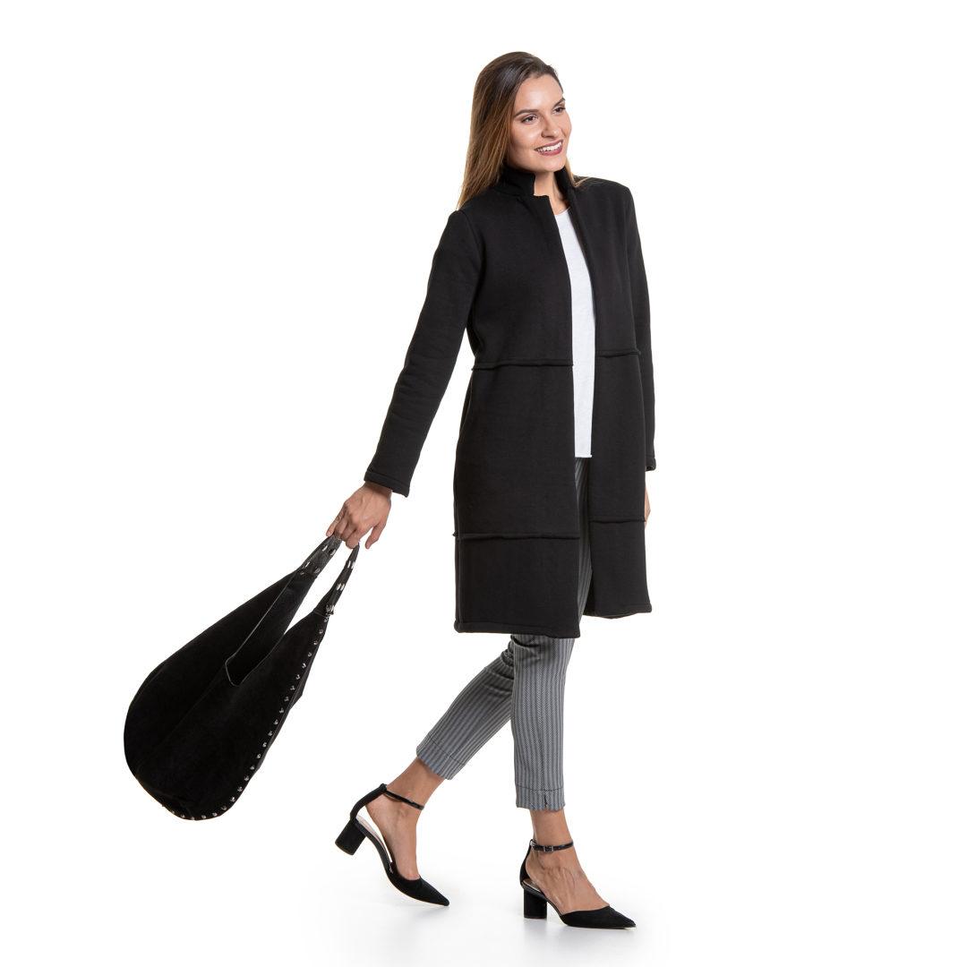 c643d36e3027 Μαύρο μακρύ πανωφόρι - Γυναικεία Ρούχα - Φορέματα - Xanashop