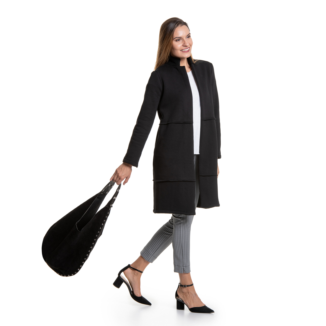 503704e2168e Μαύρο μακρύ πανωφόρι - Γυναικεία Ρούχα - Φορέματα - Xanashop