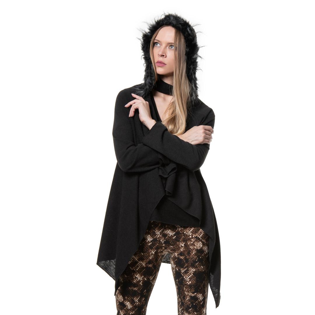 901310fa4fbf Μαύρη ζακέτα με γούνα στην κουκούλα - Γυναικεία Ρούχα - Φορέματα ...