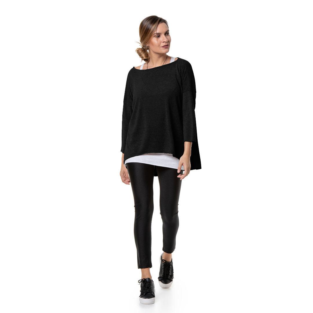 dbdbfc72eb94 Πλεκτή διπλή μαύρη μπλούζα - Γυναικεία Ρούχα - Φορέματα - Xanashop