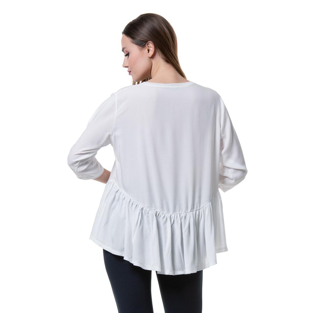 4bdf78ba09ed Ασπρη μπλούζα με ασύμμετρη σούρα στη μέση - Γυναικεία Ρούχα ...