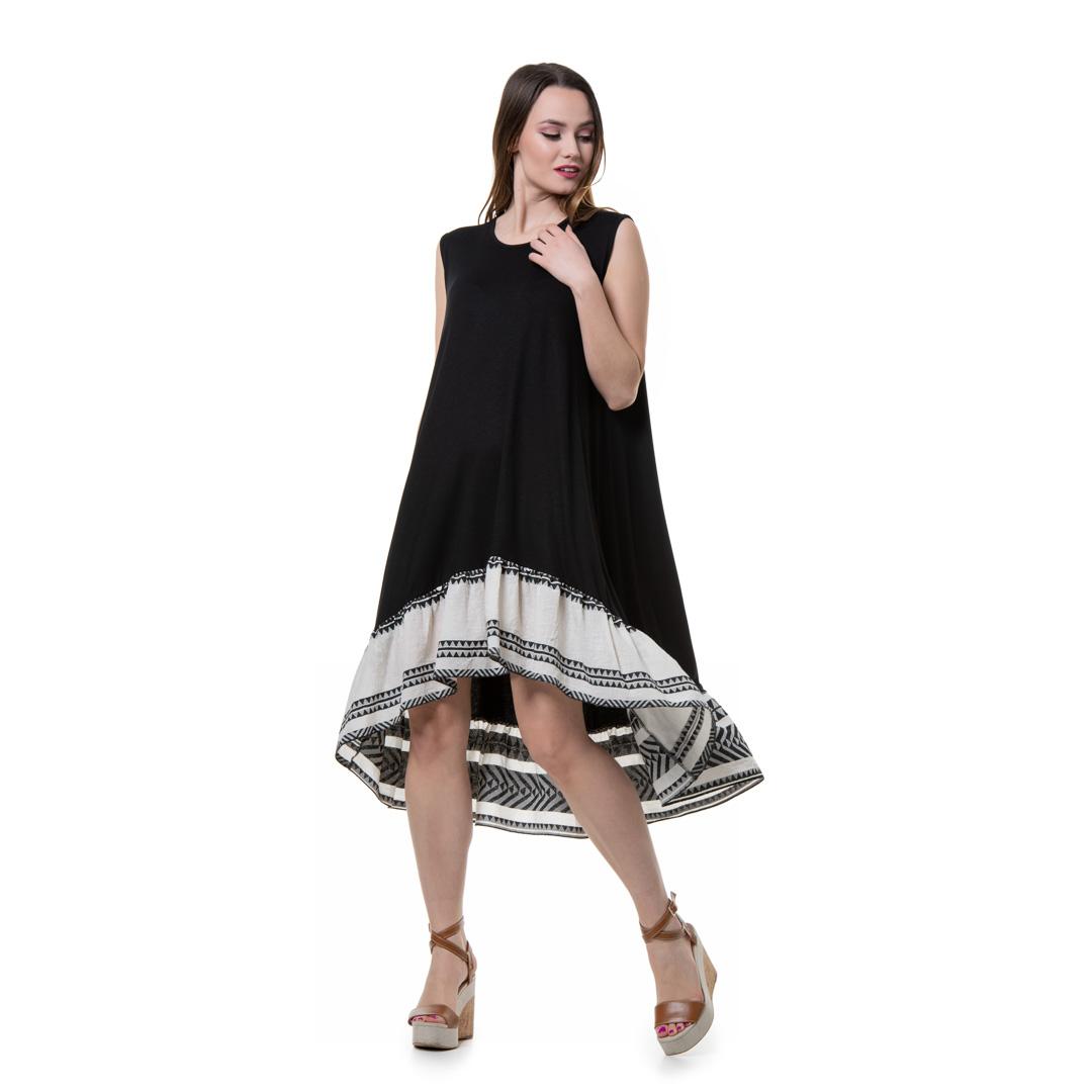 2148043dc6e Αμάνικο φόρεμα σε γραμμή αλφα με βολάν