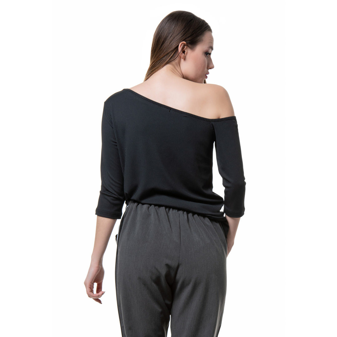 fbd31f22995c Μαύρο ασύμμετρο ριμπ τι σερτ - Γυναικεία Ρούχα - Φορέματα - Xanashop
