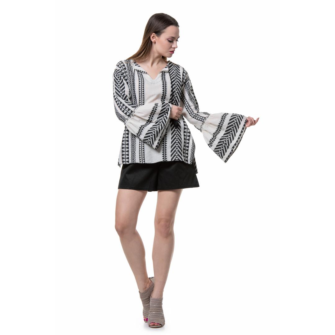 d5901a45a8c2 Boho ασπρόμαυρη πουκαμίσα - Γυναικεία Ρούχα - Φορέματα - Xanashop