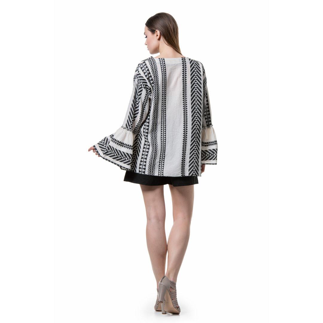 c91b776981cd Boho ασπρόμαυρη πουκαμίσα - Γυναικεία Ρούχα - Φορέματα - Xanashop