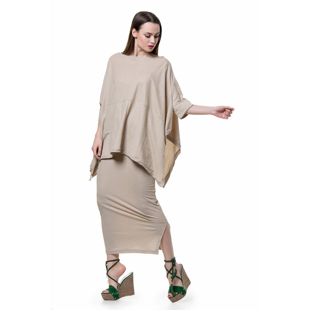 f7e28d375aa2 Oversized μπλούζα σε λινό ζέρσευ - Γυναικεία Ρούχα - Φορέματα - Xanashop