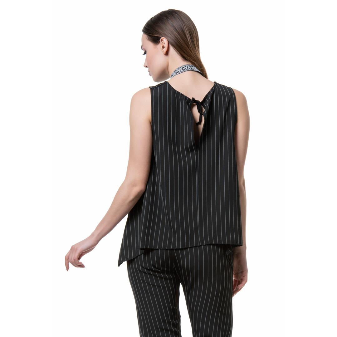 c9377f59f01d Ριγέ αμάνικο ασύμμετρο τοπ - Γυναικεία Ρούχα - Φορέματα - Xanashop