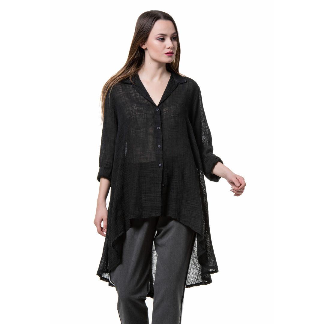 7d4169c30fef Μακρύ ασύμμετρο πουκάμισο από γάζα - Γυναικεία Ρούχα - Φορέματα ...