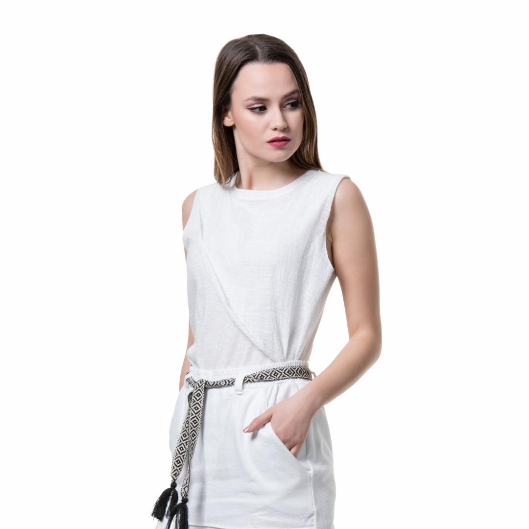 e19212ade0ed Eκρού αμάνικο τοπ με γάζα - Γυναικεία Ρούχα - Φορέματα - Xanashop