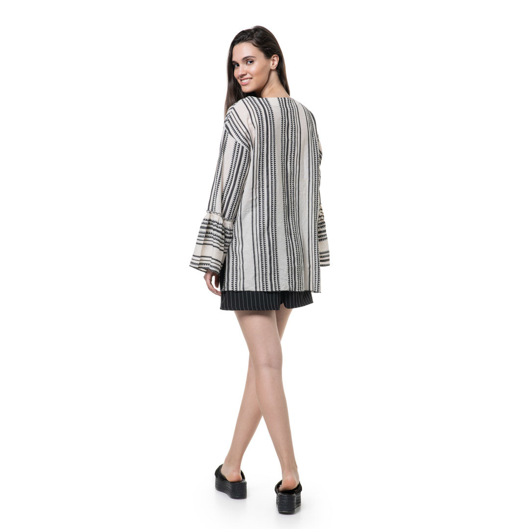 43f262197fcf Boho ασπρόμαυρη πουκαμίσα - Γυναικεία Ρούχα - Φορέματα - Xanashop